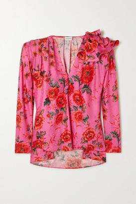 Magda Butrym Bolzano Oversized Ruffled Floral-print Silk-satin Jacquard Blouse - Pink