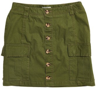 Superdry Cotton Button-Through Skirt with Cargo Pockets