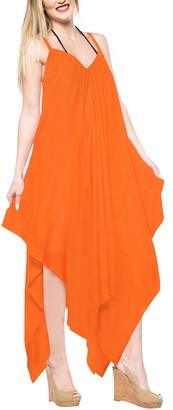 LA LEELA Everyday Essentials Women's Solid Plain Short Beach Dress Vintage Casual Maxi Evening Loungewear Short Sleeve Caftan Tunic Cover up One Size Large Cruise wear Pumpkin Orange_C118