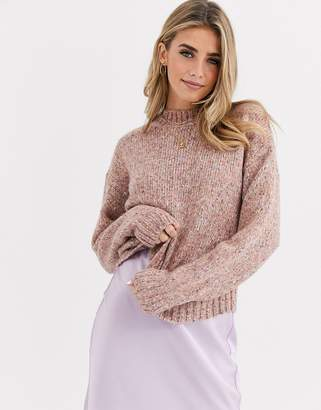 New Look high neck crop jumper in dusty pink