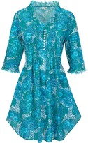 At Last... Cotton Annabel Tunic- Sea Blue