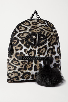 Goldbergh Handy Faux Fur And Leather-trimmed Leopard-print Shell Backpack - Brown