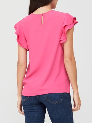 Very Round Neck Short Sleeve Shell Top - Pink