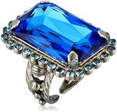Sorrelli Ultramarine Luxurious Emerald-Cut Cocktail Adjustable Ring