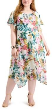 Robbie Bee Plus Size Flutter-Sleeve Midi Dress