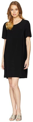 Norma Kamali KAMALIKULTURE by Short Sleeve Boxy Dress To Knee (Black) Women's Dress