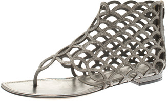 Sergio Rossi Metallic Grey Leather Cut Out Scalloped Flat Sandals Size 39.5