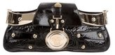 Versace Medusa-Embellished Patent Leather Clutch