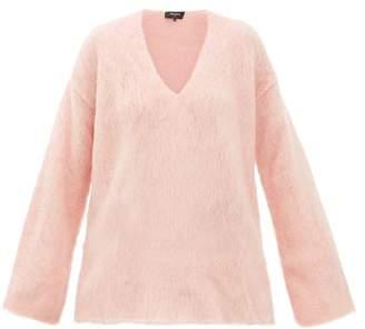Rochas Oversized Mohair-blend Trapeze Sweater - Womens - Light Pink