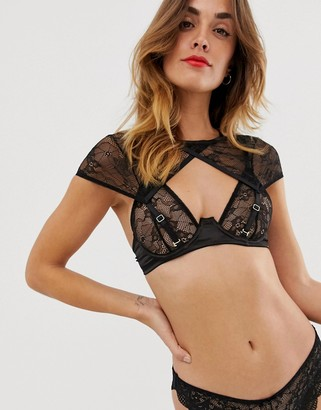 Bluebella Phoenix sheer mesh bra with detachable cap sleeve detail in black