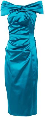 Talbot Runhof Off-the-shoulder Twisted Satin Midi Dress