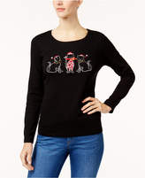 Karen Scott Petite Cotton Holiday Cat Graphic Top, Created for Macy's