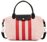 Longchamp Le Pliage Cuir Striped Handbag with Strap