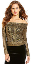 Gianni Bini Emerson Off-the-Shoulder Long Sleeve Printed Sweater