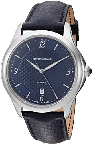 Emporio Armani Swiss Made Men's 'Esedra Gent Auto' Swiss Automatic Stainless Steel and Leather Casual Watch