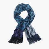 J.Crew Lightweight silk twill scarf in printed patchwork