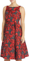 Adrianna Papell Petite Sleeveless Floral Jacquard Tea Length Dress, Black/Crimson