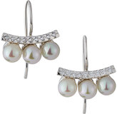 Majorica Pave Crystal Pearl Bar Drop Earrings, Silver