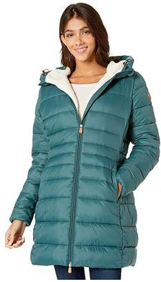 Save The Duck Giga 9 Puffer Coat with Sherpa Lining (Alpine Green) Women's Clothing