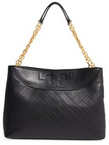 Tory Burch Quilted Slouchy Leather Tote - Black
