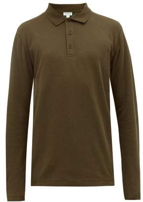 Sunspel Long-sleeved Waffle-knit Cotton Polo Shirt - Mens - Khaki