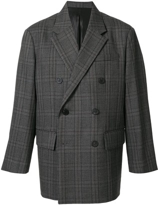 Solid Homme Double-Breasted Plaid Jacket