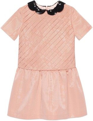 Gucci Children's moire dress with sequin collar