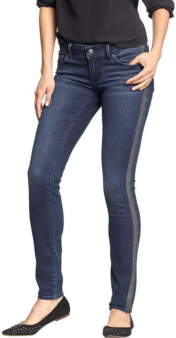 Old Navy Women's The Rockstar Faux-Leather Stripe Jeans