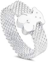 Tous Sterling Silver Mesh Bear Ring