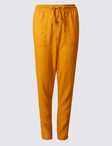 M&S Collection Linen Rich Drawstring Tapered Leg Trousers