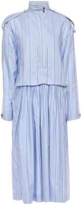 Cédric Charlier Gathered Striped Cotton And Silk-blend Shirt Dress