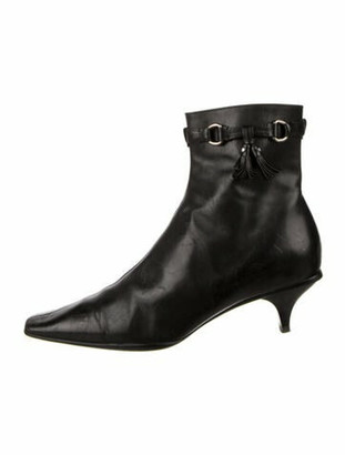 Prada Leather Chain-Link Accents Boots Black