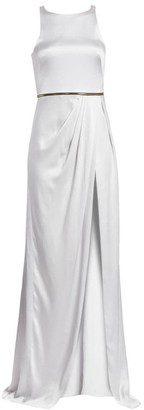 Brandon Maxwell Sueded Charmeuse Long Wrap Dress