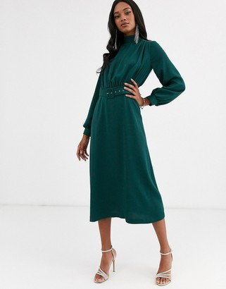 Closet London high neck belted midi dress in forest green