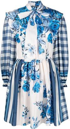 Alberta Ferretti Mixed-Print Silk Mini Dress