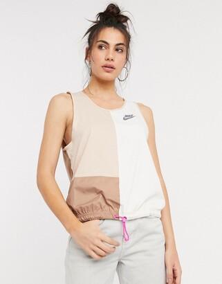 Nike woven colour block vest in beige