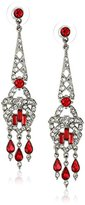 Ben-Amun Jewelry Crystal and Ruby-Colored Drop Earrings