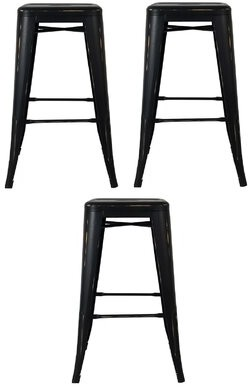 "17 Stories Wilsey Bar & Counter Stool Seat Height: Counter Stool (26"" Seat Height), Color: Antique Black, Pack Size: 3"