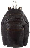 Patrik Ervell Leather Raffia-Trimmed Backpack