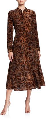 Lafayette 148 New York Augustina Leopard Printed Long-Sleeve Silk Midi Dress