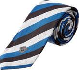Versace Black & Blue Stripe Silk Tie