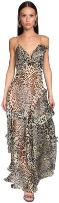 Ermanno Scervino Sheer Leopard Print Organza Dress