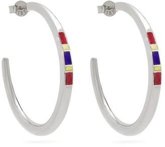 Jessica Biales - Saxony Enamel & Sterling-silver Earrings - Silver