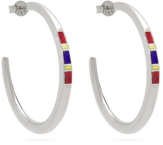 Jessica Biales - Saxony Enamel & Sterling-silver Earrings - Womens - Silver