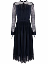 Thumbnail for your product : Self-Portrait Pleated Lace-Panelled Midi Dress