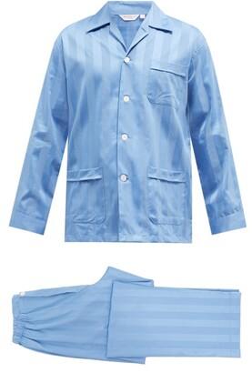 Derek Rose Lingfield Striped Cotton Pyjamas - Light Blue
