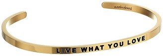 MantraBand Live What You Love Cuff (Yellow Gold) Bracelet