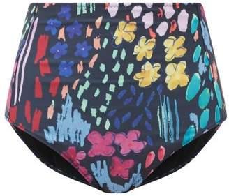 Araks Yumi Floral-print High-rise Bikini Briefs - Womens - Black Print