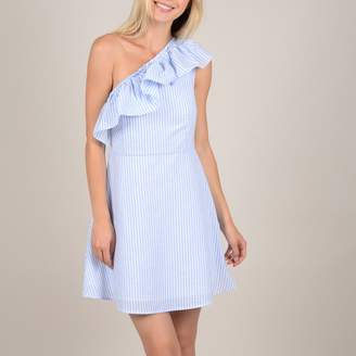 Molly Bracken Cotton Mix Short Dress with Ruffled Off-the-Shoulder Neck