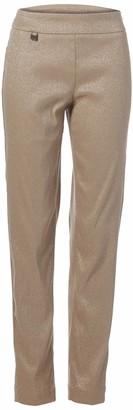 Slim Sation SLIM-SATION Women's Wide Band Pull-On Jacquard Metallic Print Narrow Leg Pant